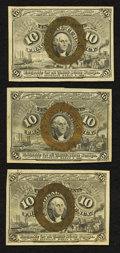Fractional Currency:Second Issue, Fr. 1244 10¢ Second Issue Choice About New;. Fr. 1245 10¢ Second Issue Extremely Fine;. Fr. 1246 10¢ Second Issue About New.... (Total: 3 notes)