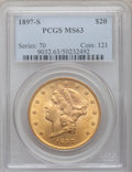 Liberty Double Eagles: , 1897-S $20 MS63 PCGS. PCGS Population (1702/436). NGC Census:(1817/328). Mintage: 1,470,250. Numismedia Wsl. Price for pro...