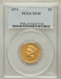 Three Dollar Gold Pieces: , 1874 $3 XF45 PCGS. PCGS Population (144/1909). NGC Census:(89/2433). Mintage: 41,800. Numismedia Wsl. Price for problem fr...