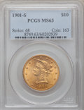 Liberty Eagles: , 1901-S $10 MS63 PCGS. PCGS Population (4965/4568). NGC Census:(5558/5276). Mintage: 2,812,750. Numismedia Wsl. Price for p...