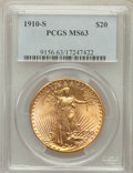 Saint-Gaudens Double Eagles: , 1910-S $20 MS63 PCGS. PCGS Population (1172/1246). NGC Census:(1076/619). Mintage: 2,128,250. Numismedia Wsl. Price for pr...
