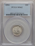 Barber Dimes: , 1894 10C MS62 PCGS. PCGS Population (23/96). NGC Census: (20/82).Mintage: 1,330,972. Numismedia Wsl. Price for problem fre...