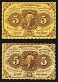 Fractional Currency:First Issue, Fr. 1228 5¢ First Issue Choice New;. Fr. 1229 5¢ First Issue Choice About New.. ... (Total: 2 notes)