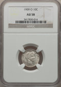 Barber Dimes: , 1909-O 10C AU58 NGC. NGC Census: (6/79). PCGS Population (10/91).Mintage: 2,287,000. Numismedia Wsl. Price for problem fre...