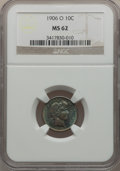 Barber Dimes: , 1906-O 10C MS62 NGC. NGC Census: (15/93). PCGS Population (7/130).Mintage: 2,610,000. Numismedia Wsl. Price for problem fr...