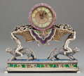 Timepieces:Clocks, A VAUCHEZ FRÈRES SILVER GILT, ENAMEL AND GEM SET VERGE FUSEEFIGURAL DESK CLOCK . Vuachez Frères, Geneva, Switzerland, circ...