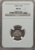 Barber Dimes: , 1906-D 10C MS62 NGC. NGC Census: (13/60). PCGS Population (16/84).Mintage: 4,060,000. Numismedia Wsl. Price for problem fr...