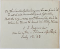 "Autographs:Authors, Charles Jared Ingersoll. Autograph Poem Signed, ""C J Ingersoll,"" July 12, 1842, Washington, D. C., House of Representatives...."
