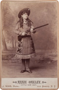 Photography:Cabinet Photos, Cabinet Photo of Annie Oakley with Shotgun, 1887. ...