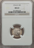 Barber Dimes: , 1914-D 10C MS63 NGC. NGC Census: (85/160). PCGS Population(93/178). Mintage: 11,908,000. Numismedia Wsl. Price for problem...
