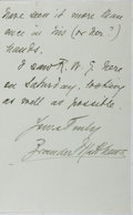 "Autographs:Authors, Brander Matthews (American Author and Educator). Autograph LetterSigned, ""Brander Matthews,"" July 29, 1895, Savile Club sta..."
