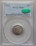 Barber Dimes: , 1914 10C MS64 PCGS. CAC. PCGS Population (291/196). NGC Census:(264/182). Mintage: 17,360,656. Numismedia Wsl. Price for p...