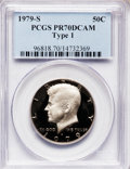 Proof Kennedy Half Dollars: , 1979-S 50C Type One PR70 Deep Cameo PCGS. PCGS Population (254).NGC Census: (0). Numismedia Wsl. Price for problem free N...