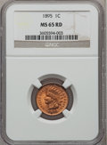Indian Cents: , 1895 1C MS65 Red NGC. NGC Census: (184/82). PCGS Population(114/38). Mintage: 38,343,636. Numismedia Wsl. Price for proble...