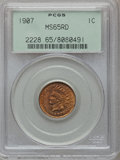Indian Cents: , 1907 1C MS65 Red PCGS. PCGS Population (188/35). NGC Census:(186/28). Mintage: 108,138,616. Numismedia Wsl. Price for prob...