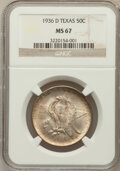 Commemorative Silver: , 1936-D 50C Texas MS67 NGC. NGC Census: (255/10). PCGS Population(307/13). Mintage: 9,039. Numismedia Wsl. Price for proble...
