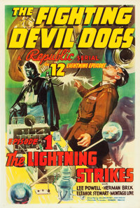 """The Fighting Devil Dogs (Republic, 1938). One Sheet (27.5"""" X 41"""") Chapter 1- """"The Lightning Strikes.""""..."""