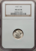 Mercury Dimes: , 1920 10C MS65 Full Bands NGC. NGC Census: (109/46). PCGS Population(205/104). Mintage: 59,030,000. Numismedia Wsl. Price f...