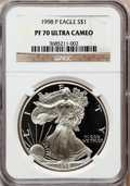 Modern Bullion Coins: , 1998-P $1 Silver Eagle PR70 Ultra Cameo NGC. NGC Census: (1020).PCGS Population (680). Numismedia Wsl. Price for problem ...