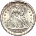Seated Dimes, 1857 10C MS65 PCGS. CAC....