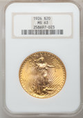 Saint-Gaudens Double Eagles: , 1926 $20 MS63 NGC. NGC Census: (6434/12724). PCGS Population(6166/11800). Mintage: 816,750. Numismedia Wsl. Price for prob...