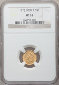 Gold Dollars: , 1873 G$1 Open 3 MS61 NGC. NGC Census: (399/1341). PCGS Population(210/1143). Mintage: 123,300. Numismedia Wsl. Price for p...