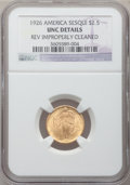 Commemorative Gold, 1926 $2 1/2 Sesquicentennial -- Reverse Improperly Cleaned -- NGCDetails. Unc. NGC Census: (28/6980). PCGS Population (114...