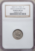 Civil War Merchants, 1864 Great Sanitary Fair Token MS62 NGC. Fuld-PA750L-1F....
