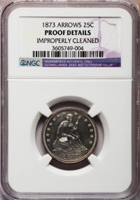 1873 25C Closed 3, No Arrows -- Improperly Cleaned -- NGC Details. PROOF. NGC Census: (3/143). PCGS Population (7/149)...