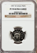 Modern Bullion Coins: , 1997-W P$25 Quarter-Ounce Platinum Eagle PR70 Ultra Cameo NGC. NGCCensus: (507). PCGS Population (109). Mintage: 18,726. N...
