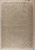 Books:Periodicals, [Newspaper]. [Post Civil War / Wirz Trial]. The New YorkHerald. August 22, 1865. Disbound. Scattered foxing and...