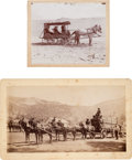 Photography:Cabinet Photos, Two Mounted Albumen Photographs: Albumen Boudoir Card of aHorse-Drawn Lumber Wagon and a Mounted Photograph of the Death ...(Total: 2 Items)