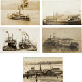Photography:Official Photos, Five Real Photo Postcards: Mississippi River Riverboats, Circa1907-1910.... (Total: 5 Items)