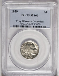 1929 5C MS66 PCGS. Nicely struck and mostly untoned with great luster. A series of small repeating marks appears on the...