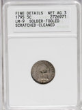 Early Half Dimes: , 1795 H10C --Solder, Tooled, Scratched, Cleaned--ANACS. FineDetails, Net AG3. V-6, LM-9, R.4. A scarce variety noted for its...
