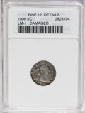 Early Half Dimes: , 1800 H10C --Damaged--ANACS. Fine 12 Details. V-1, LM-1, R.3. Asharp but wavy gunmetal-gray representative with prominent di...