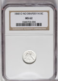 Seated Half Dimes: , 1840-O H10C No Drapery MS62 NGC. Breen-3020, Small Round O. Nearlyuntoned aside from a carbon fleck on the wreath beneath ...