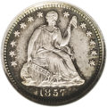 Proof Seated Half Dimes: , 1857 H10C PR64 NGC. V-3, Breen-3084. Mintage unknown. Per the platephoto in the Breen book on page 292, this specimen appe...