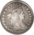 Early Dimes: , 1796 10C --Obverse Scratched, Damaged--NCS. VF Details. JR-6. R.3.The left side of the date has a heavy die crack, which is...