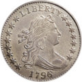 Early Dimes: , 1796 10C AU58 PCGS. JR-4, R.4. The Draped Bust, Small Eagle dimeswere coined in limited quantities during 1796 and 1797. A...
