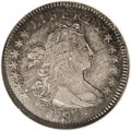 Early Dimes: , 1797 10C 13 Stars AU55 NGC. JR-2, R.4. The dimes of 1797 have amisleading mintage of 25,261 pieces. While that many coins ...