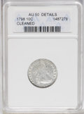 Early Dimes: , 1798 10C Large 8--Cleaned--ANACS. AU50 Details. JR-4, R.3. Thoughthe tin-gray surfaces are unnaturally bright from cleanin...