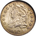 Bust Dimes: , 1820 10C Medium 0 MS64 NGC. JR-6, R.3. This example of the NotchedStars obverse shows a deep notch in the outer arm of eac...