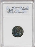 Bust Dimes: , 1828 10C Small Date--Artificially Toned--ANACS. MS60 Details. JR-1,R.2. Misattributed on the ANACS holder as Large Date, J...