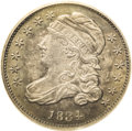 Bust Dimes: , 1834 10C Small 4 MS64 PCGS. JR-7, R.2. This die pairing is easilydistinguished by the long, well formed serif on the 4 in ...