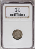 Bust Dimes: , 1836 10C MS63 NGC. JR-1, R.3. Dappled golden-brown, lavender, and aquamarine embrace this satiny and attractively preserved...