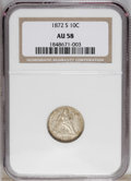 Seated Dimes: , 1872-S 10C AU58 NGC. A nice example from a technical standpoint, for the grade, since only the faintest of hairlines and mi...