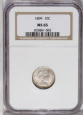 Barber Dimes: , 1899 10C MS65 NGC. A sharply struck Gem with soft, pleasing luster.Attractive orange, baby-blue, and russet-gold patina ad...
