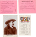 Photography:Cabinet Photos, Cabinet Card: Buffalo Bill Cody Cabinet Card, Sells Floto Circus Postcard, and Buffalo Bill's Wild West and Congress of Rough ... (Total: 4 Items)