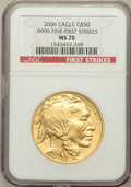 Modern Bullion Coins, 2006 $50 One-Ounce Gold Buffalo, First Strikes MS70 NGC. Ex: .9999Fine. NGC Census: (43526). PCGS Population (3305)....